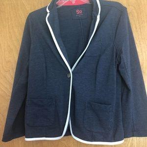 SO Navy Cotton Blazer